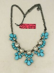 Blue Flowers lace pendant silk ribbons embroidered choker,bronze tone statement necklace