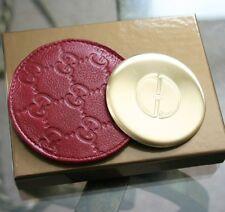 New Authenitc GUCCI Red Compact Mirror Guccissima Leather Pouch&Box 263560 6065