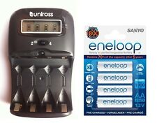 UNiROSS LCD 1-2 HOUR AA/AAA CHARGER& 4 x AA ENELOOP Rechargeable Batteries