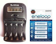 UNiROSS LCD 1-2 HOUR AA/AAA CHARGER& 4 x AA ENELOOP Rechargeable Batteries
