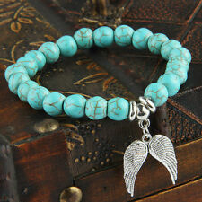 Angel Wing Turquoise Beads Elastic Bangle Bracelet Womens Mens Charms Gifts New