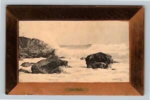 Block Island RI-Rhode Island, Surf Rocks Wave's Crashing Vintage c1908 Postcard