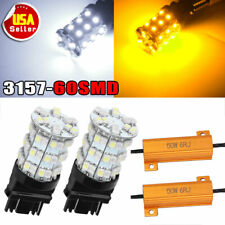 2X 3157 60SMD Dual Color Switchback White Amber LED Turn Signal Lights+Resistors