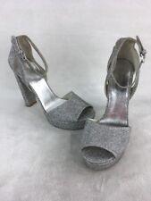 Stuart Weitzman Hijinx Silver Noir Platform Sandals Size 10M  D2585/