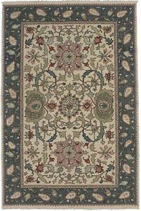 Cream Green Wool Hand-Woven 6X9 Handmade Kilim Oriental Rug Art Deco Carpet