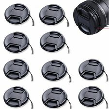 10pcs 55mm Center-Pinch Front Lens Cap + String for Nikon Canon Sony Olympus 10x