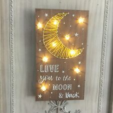 Light Up Wall Nail Art Sign Love You To The Moon & Back LED Decoration Mum Kid