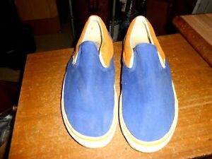 VANS Old School Custom SLIP ON SHOE BUILDER Size 14 Blue & Yellow Canvas