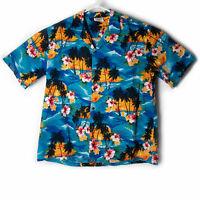 PACIFIC LEGEND Mens Hawaiian Shirt Sunset Palm Trees Tropical Flowers