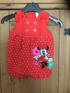 Girls Romper Outfit , Age 3-6 Mnths , Disney Baby Minnie Mouse , Pre Owned .