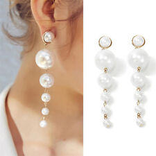 Fashion Women Elegant Big Simulated Pearl Long Tassel Statement Dangle Earring