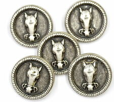 5 Metal HORSE HEAD Buttons Size 27 mm nickel colour Sewing equestrian
