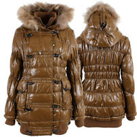 Womens Padded Puffer Shin Shinny Bomber Long Knee Length Winter Jacket Coat Puff