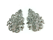 Antique Silver Plated Filigree Pendant Findings • Q20 • 66284