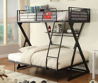NEW ENODIA III CONTEMPORARY SANDY BLACK FINISH METAL TWIN/FULL BUNK BED w/SHELF