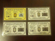 ACB Gold Silver Platinum Palladium 5GRAIN BULLION MINTED Bars w/COA'S 4 bars! +