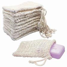 Kipetto 15Pcs Natural Sisal Soap Bags Exfoliating Mesh Soap Saver Pouch,