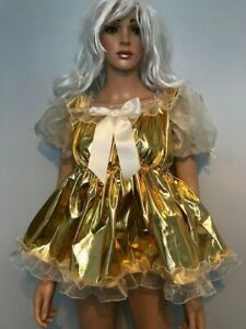 """Adult Baby Sissy  Gold  Lame Dress with chiffon frills- 52"""" chest"""