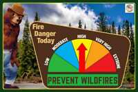 FIRE DANGER WARNING SIGN W MOVING GAUGE SMOKEY BEAR! U.S. FOREST SERVICE PARK