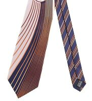 Vitaliano Pancaldi ITALY Navy Blue Silver Orange Abstract Striped Satin Silk Tie