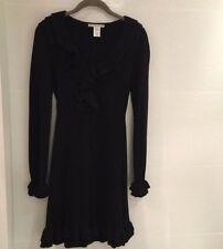Nanette Lepore Black V-Neck Long Sleeved Double Ruffled Knit Sweater Dress Sz SM