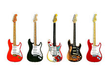 More details for five famous fender stratocaster guitars - poster print a1 size