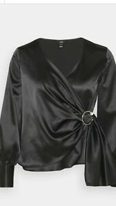 River Island Womens Black Silky Feel Blouse Wrap Top With Buckle UK 18