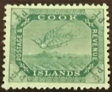 COOK ISLANDS 1909-11 1/2d GREEN S.G.37 Wmk. 43 P.14X14 1/2 MINT HINGED VGC
