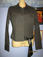 GREEN MILITARY STYLE LONG SLEEVED BLOUSE SIZE M 8/10 FREE P+P