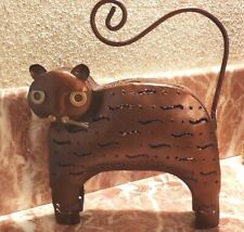 New listing New Metal Cat Art Sculpture Tea Candle Holder Copper Decorative Whiskers Gold