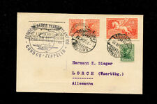 Zeppelin Sieger 186 1932 7t South America Flight Uruguay Post to Germany on Card