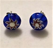 Murano Cobalt Blue Red White Art Glass 9mm Round Ball Stud Earrings STAINLESS SS