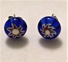 Murano Cobalt Blue Red White Art Glass 9mm Round Ball Stud Earrings STAINLESS SS