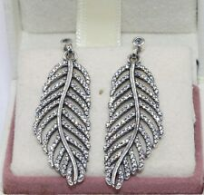 AUTHENTIC PANDORA  Shimmering Feather Dangle Earrings, 290584CZ         #1932