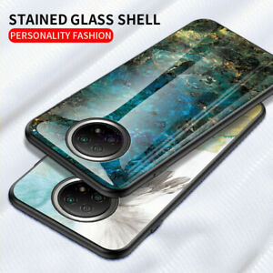 For Xiaomi Redmi Note 9T 5G, Shockproof Marble Glass Hybrid Soft TPU Case Cover