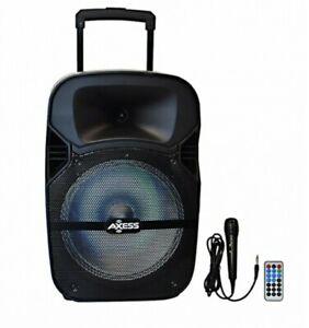 "Party Black Loud Speaker 12"" with LED Light Bluetooth Portable/FM Radio"