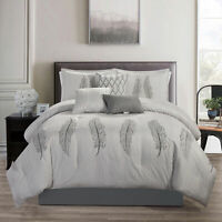 Chezmoi Collection Mateo 7-Piece Chic Feathers Scroll Embroidered Comforter Set