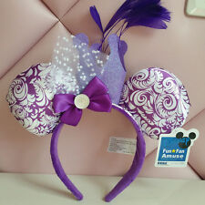 New Disney Park Minnie Mouse Ears Feather Crown Halloween Headband Costume Party