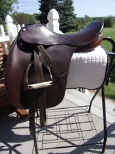 18'' CUTBACK BROWN CROSBY DRESSAGE ENGLISH SADDLE  w leathers & irons narrow