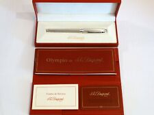 S. T. DUPONT OLYMPIO LARGE FOUNTAIN PEN IN SILVER & PLATINUM TRIM WITH 18K NIB