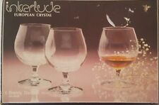 SET OF 6 CRYSTAL BRANDY GLASSES BY INTERLUDE CLEAR SOLID DESIGN