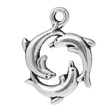 5 x Delfino Cerchio Ciondolo Charm 16 x 21 mm argento antico fai da te DIY