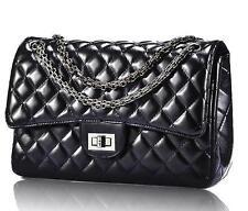 Woman Quilted Genuine Leather Shoulder Messenger ladies Chain handbag black Bag