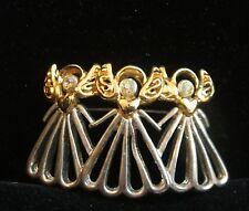 Vintage 3 Silver Gold Tone Aurora Borealis Rhinestone Christmas Tree Angels