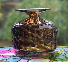 VINTAGE MDINA GLASS TEXTURED TORTOISESHELL VASE
