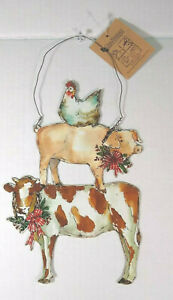 Christmas Farm Animal Wall Hanging Metal cow pig chicken Holiday NWT home decor