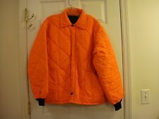 Men's Orange Quilted Zipper Front Warm Insulated Hunting Jacket Size Large