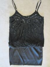 WOMENS BEADED JEWELED EXQUISITE SEQUINED MARCIANO BY GUESS BLACK DRESS SMALL