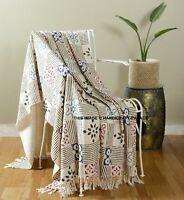 Indian 100% Cotton Hand block Print Loom Sofa / Bed Throw Bedding Blanket Beige