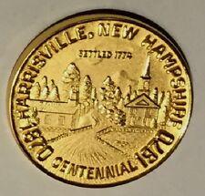 C3509    HARRISVILLE,  N.H.  GOLD PLATED  TOWN   MEDAL,   CENTENNIAL   1970